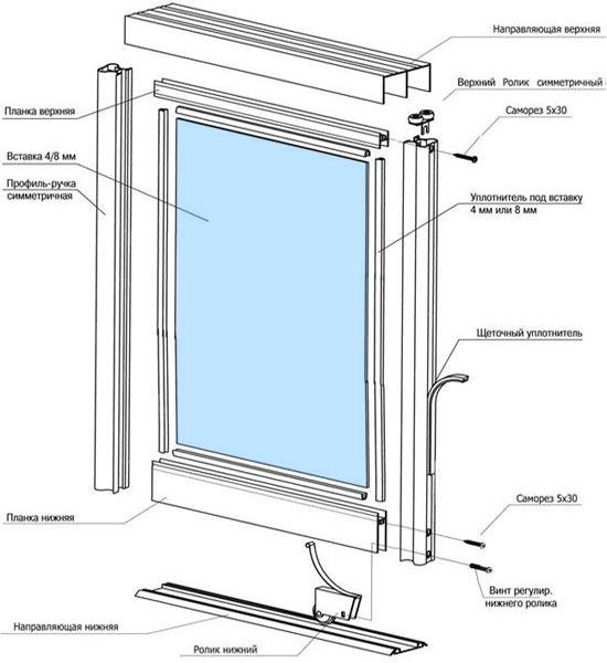 схемы сборки дверей-купе